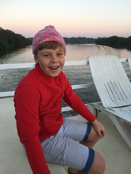 Adam on the barge