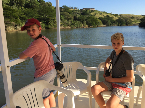 Tommy and Adam on the barge