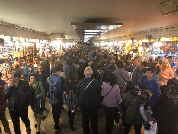 Human gridlock near the Spice Bazaar