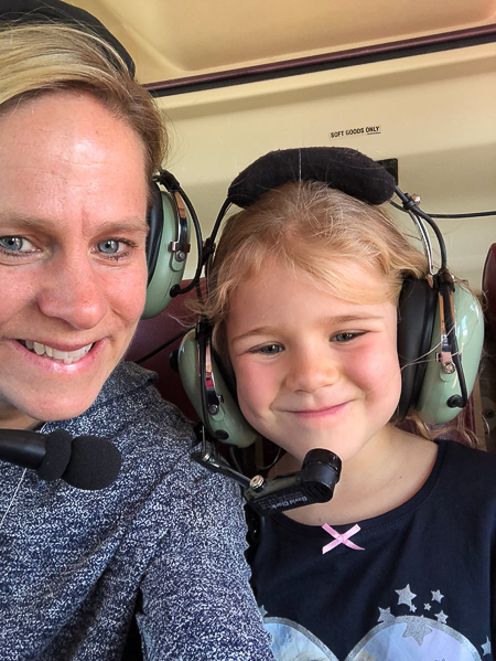 Emma and Jeanie in the helicopter