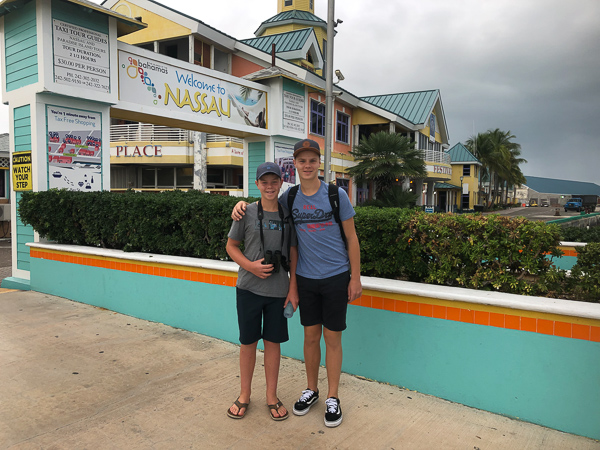 Entering the customs check at Nassau port