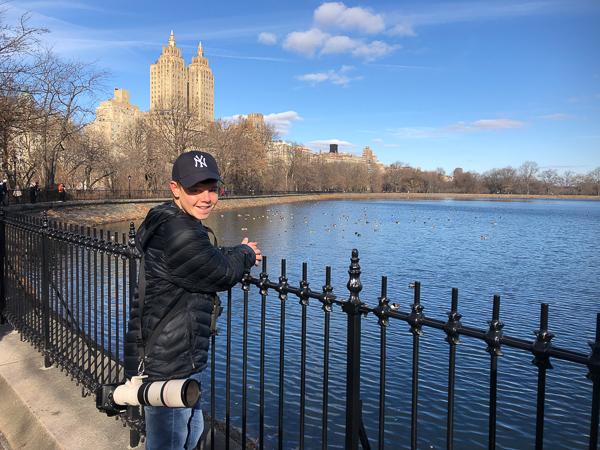 Adam birding in Central Park