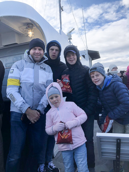 On the ferry in arctic conditions